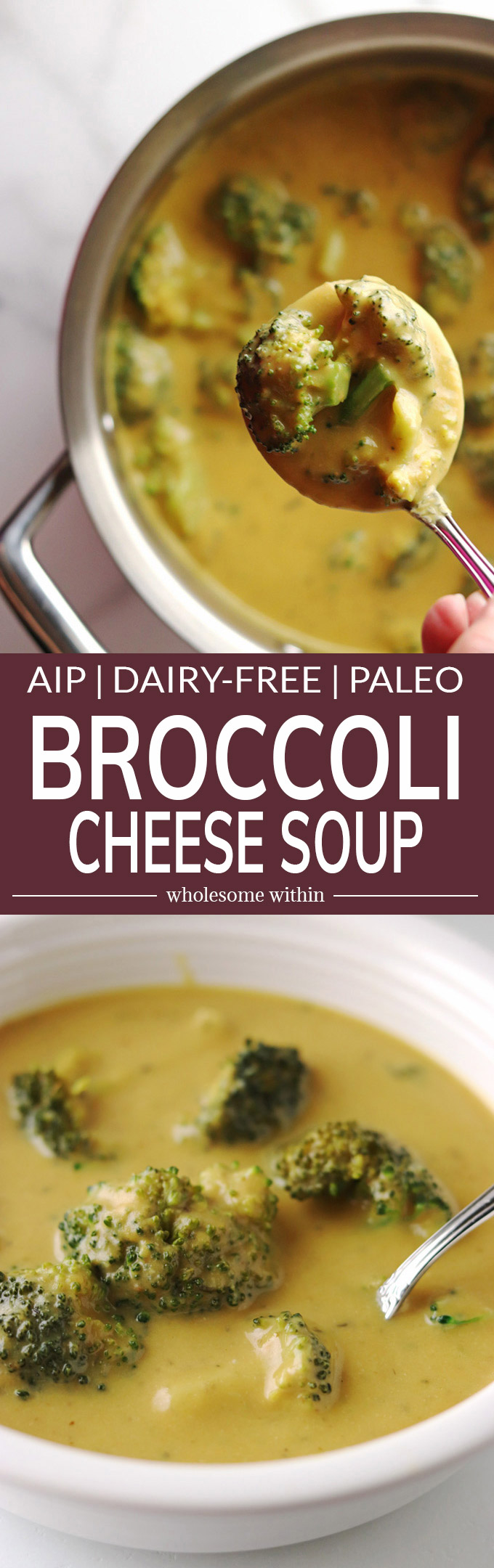 This Broccoli Cheese Soup is so delicious and creamy, you won't even miss the cheese! You will find it hard to believe that it is AIP, Paleo and dairy-free.