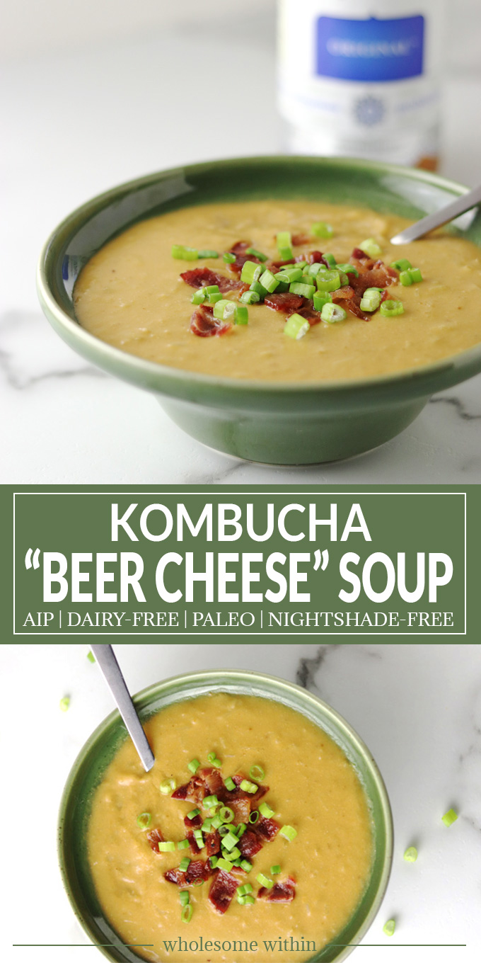 "Celebrate St. Patty's Day with this Kombucha ""Beer Cheese"" Soup! So creamy and simply AIP, Dairy-Free and Paleo!"