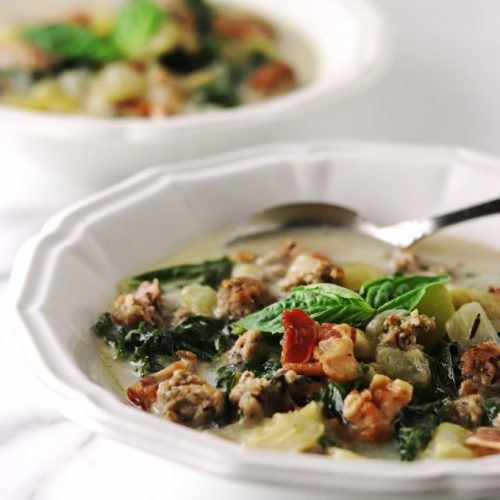 This Zucchini Basil Zuppa Toscana soup is rich and creamy, with unique ingredients including zucchini, fresh basil and my special blend of Italian sausage. It is just what you may be craving, especially if you follow an AIP, Keto, Paleo or Whole 30 lifestyle.